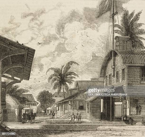 The Pacific terminus at Panama the Panama Railway the isthmus of Darien Panama illustration from the magazine The Graphic volume XV no 381 March 17...