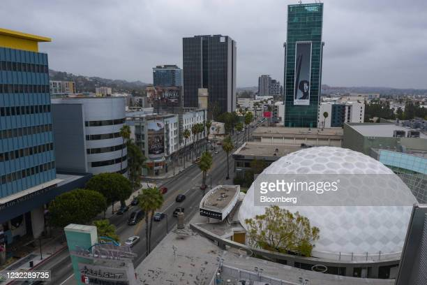 The Pacific Theatres' Cinerama Dome, right, part of the ArcLight Hollywood complex, permanently closed in Hollywood, California, U.S. On Tuesday,...