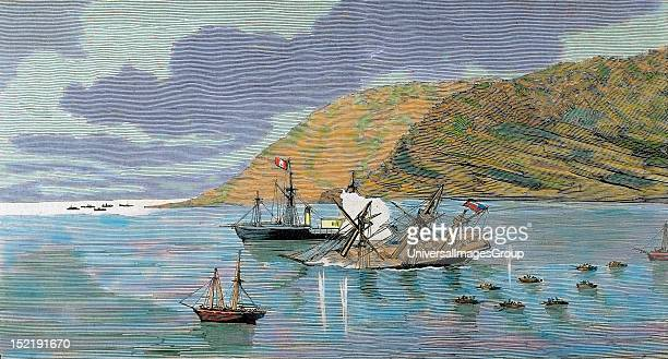 The Pacific War Battle of Iquique The Chilean corvette 'Esmeralda' is sunk by the Peruvian ironclad 'Huascar' on May 21 Colored engraving