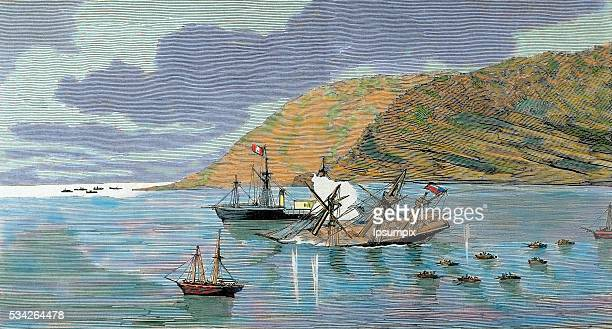 The Pacific War Battle of Iquique The Chilean corvette Esmeralda is sunk by the Peruvian ironclad Huascar on May 21 1879 Colored engraving