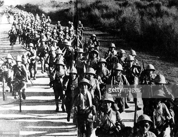 Japanese infantry in Manila, December 1941, Japan - World War II, Narional archives. Washington.