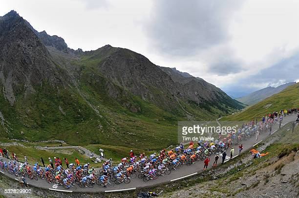 The pack in the mountains during stage 15 of the 2008 Tour de France between Embrun and Prato Nevoso.