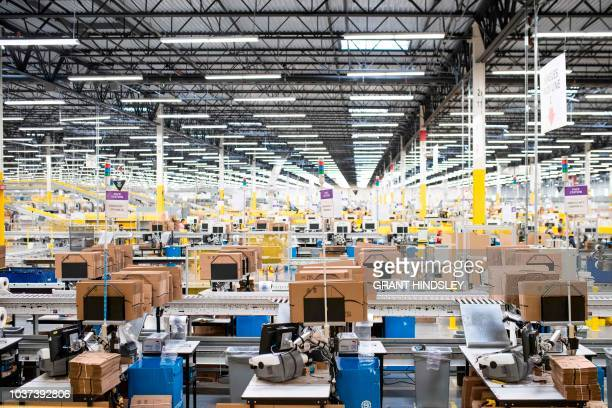 The pack mezzanine is seen during a tour of Amazon's Fulfillment Center September 21 2018 in Kent Washington