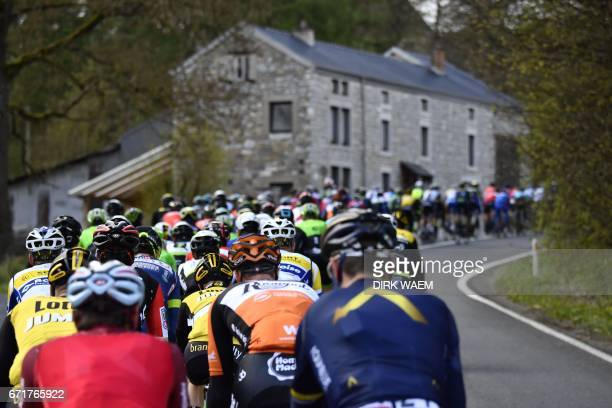 The pack of cyclists rides past during the 102nd edition of the LiegeBastogneLiege one day cycling race 256km with departure and arrival in Liege on...
