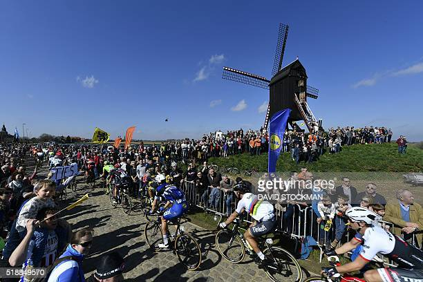 The pack of cyclists with Slovakian Peter Sagan of Tinkoff ride in action at the 100th edition of the 'Ronde van Vlaanderen Tour des Flandres Tour of...