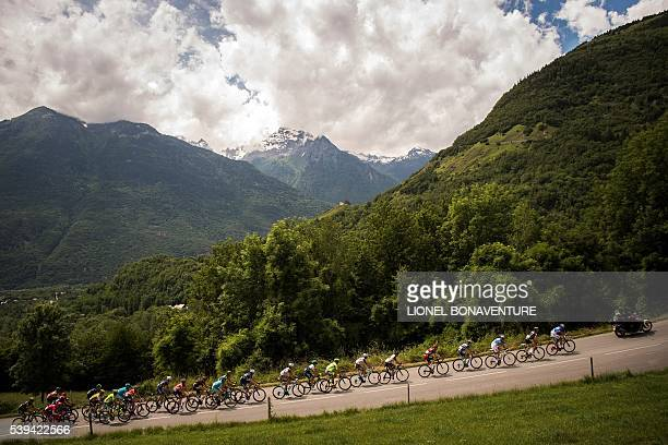 The pack ride during the seventh stage of the 68th edition of the Dauphine Criterium cycling race on June 11 2016 in Meribel / AFP / LIONEL...