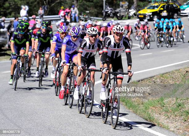 The pack ride near Pamplona on April 3 2017 during the first stage of the 2017 Tour of the Basque country a 1533km route between Iruna and...