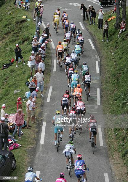 The pack rides during stage fourteen of the Tour de France from Mazamet to Plateau de Beille on July 22 2007 in Plateau de Beille France