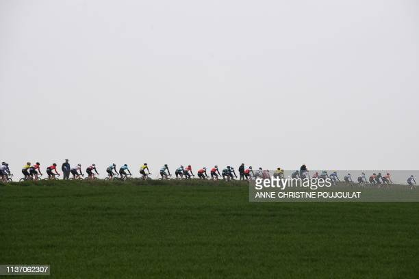 The pack rides during the 117th edition of the ParisRoubaix oneday classic cycling race between Compiegne and Roubaix near Briastre northern France...