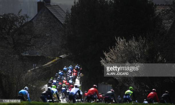 TOPSHOT The pack rides during the 1665 km 2nd stage of the 78th Paris Nice cycling race stage between Chevreuse and ChalettesurLoing on March 9 2020