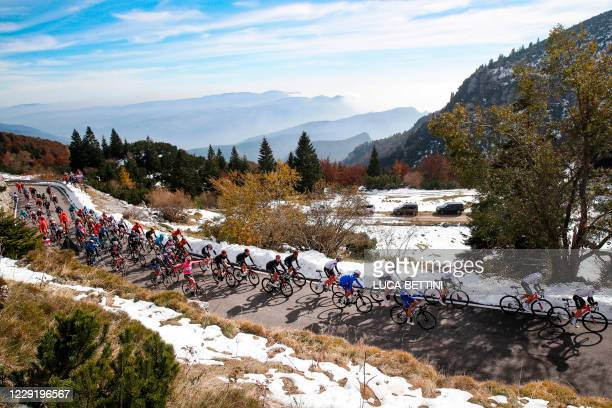 The pack rides during the 17th stage of the Giro d'Italia 2020 cycling race, a 203-kilometer route between Bassano del Grappa - Madonna di Campiglio,...