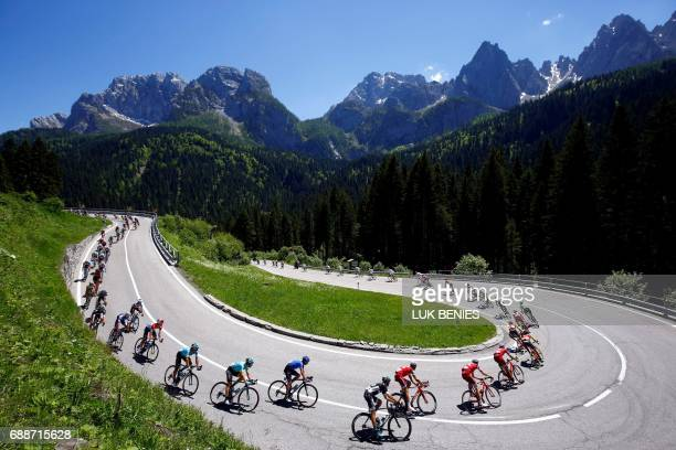 TOPSHOT The pack rides during the 19th stage of 100th Giro d'Italia Tour of Italy from San Candido to Piancavallo of 191 km on May 26 2017 in...