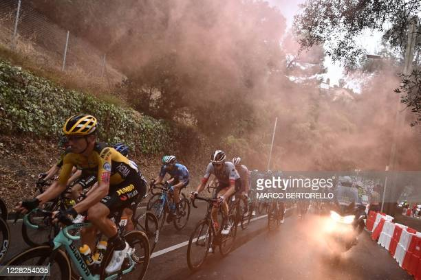 The pack rides during the 1st stage of the 107th edition of the Tour de France cycling race, 156 km between Nice and Nice, on August 29, 2020.
