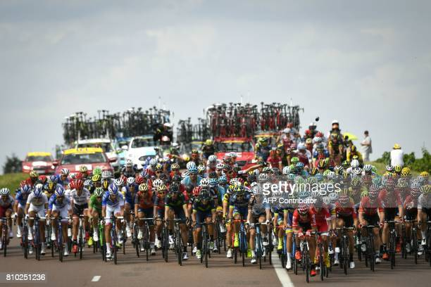 TOPSHOT The pack rides during the 2135 km seventh stage of the 104th edition of the Tour de France cycling race on July 7 2017 between Troyes and...