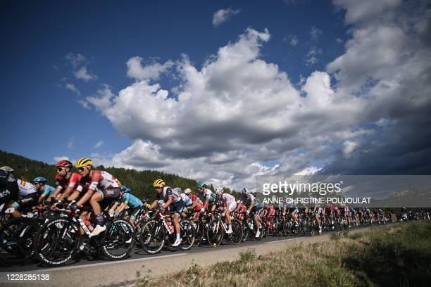 The pack rides during the 3rd stage of the 107th edition of the Tour de France cycling race, 198 km between Nice and Sisteron, on August 31, 2020.