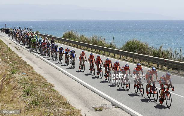 The pack rides during the 4th stage of 99th Giro d'Italia Tour of Italy from Catanzaro to Praia a Mare on May 10 2016 in Praia a Mare Italy / AFP /...