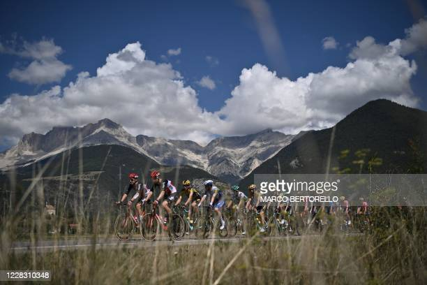 The pack rides during the 5th stage of the 107th edition of the Tour de France cycling race, 185 km between Gap and Privas, on September 2, 2020.