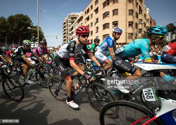 The pack rides during the 8th stage of the 72nd edition of 'La Vuelta' Tour of Spain cycling race a 1995km route between Hellin to Xorret de Cati in...