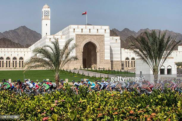 The pack rides during the fifth stage of the cycling Tour of Oman on February 15 in Oman The fifth stage is a 144km ride from Al Alam Palace in...