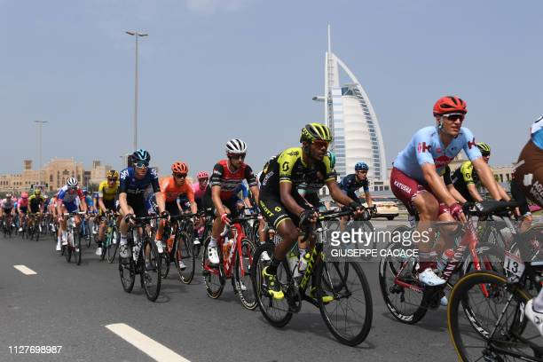 The pack rides during the fourth stage of the UAE cycling tour in Hatta on February 27 2019