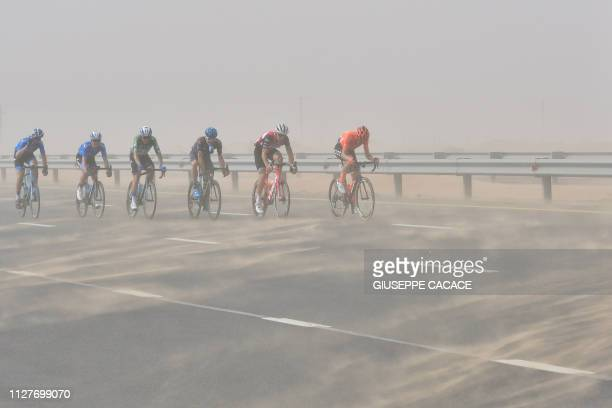 TOPSHOT The pack rides during the fourth stage of the UAE cycling tour in Hatta on February 27 2019