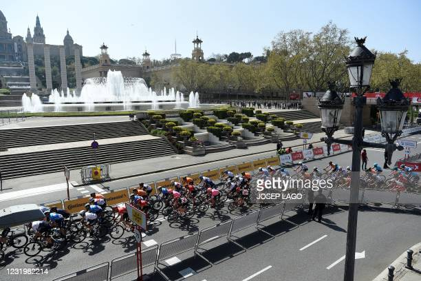 The pack rides during the last stage of the 100th Volta Catalunya 2021, a 133-km race starting and finishing in Barcelona, on March 28, 2021.