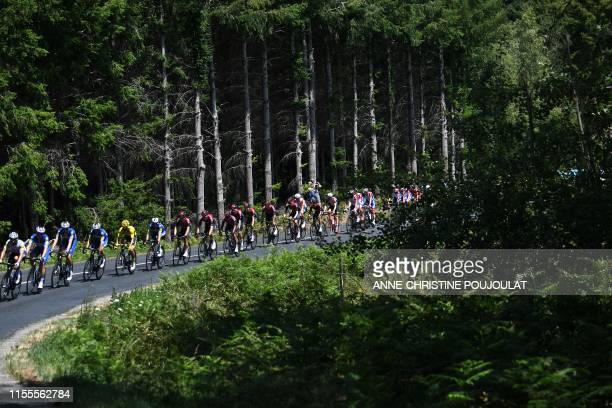 The pack rides during the ninth stage of the 106th edition of the Tour de France cycling race between SaintEtienne and Brioude on July 14 2019