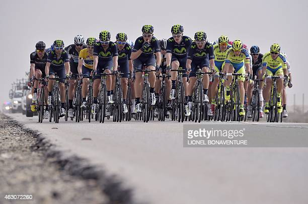 The pack rides during the second stage of the 2015 Tour of Qatar from Al Wakra to Al Khor Corniche on February 9 2015 Slovakian Peter Sagan won the...