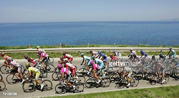 The pack rides during the second stage of the Giro d'Italia cycling race 206 km from Tempio Pausania to Bosa in Sardinia Island 13 May 2007...