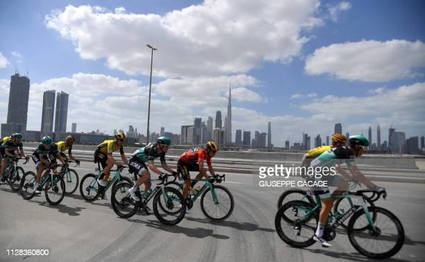 The pack rides during the seventh stage of the UAE tour in Dubai on March 2 2019