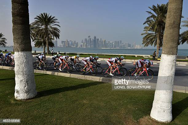 The pack rides during the sixth and last stage of the 2015 Tour of Qatar between Sealine beach resort and Doha corniche on February 13 2015 Dutch...