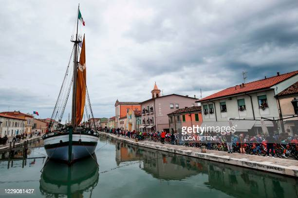 The pack rides in Cesenatico during the 12th stage of the Giro d'Italia 2020 cycling race, a 204-kilometre route between Cesenatico and Cesenatico,...
