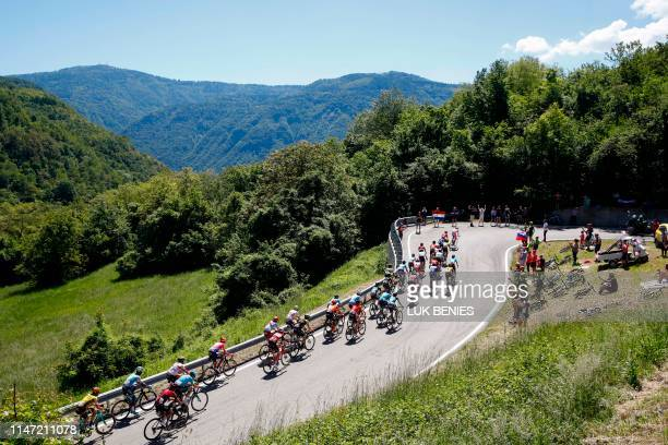 The pack rides in the ascent of Cima Campo during stage twenty of the 102nd Giro d'Italia Tour of Italy cycle race 194kms from Feltre to Croce...