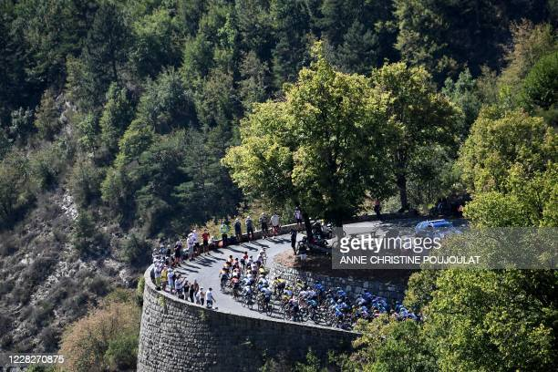 The pack rides in the Turini pass during the 2nd stage of the 107th edition of the Tour de France cycling race, 187 km between Nice and Nice, on...