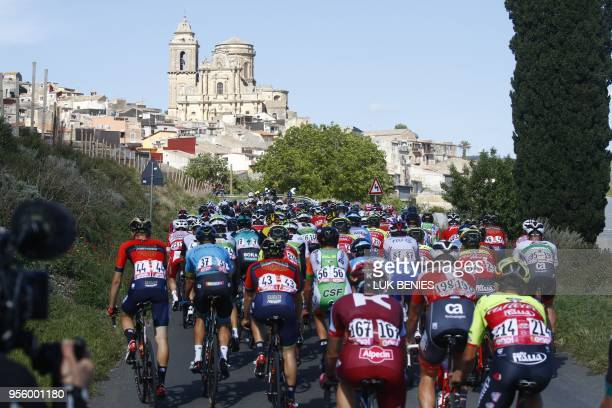 TOPSHOT The pack rides in Vizzini during the 4th stage between Catania and Caltagirone of the 101st Giro d'Italia Tour of Italy cycling race on May 8...