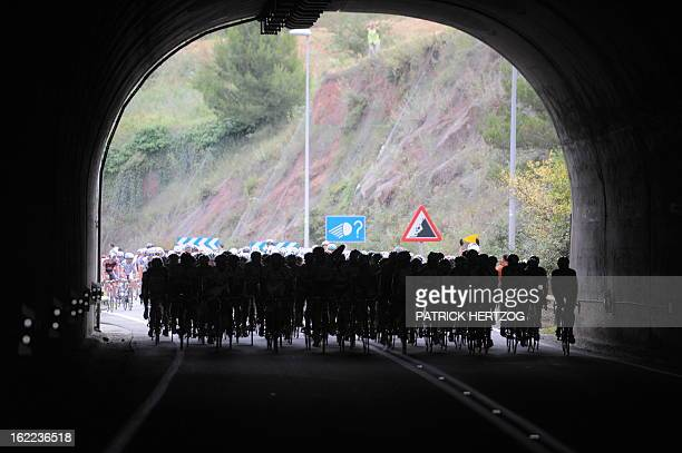 The pack rides on July 10 during the 224 km and seventh stage of the 2009 Tour de France cycling race run between Barcelona and Andorre Arcalis...