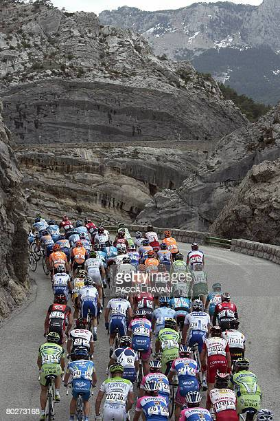 The pack rides on March 15 2008 during the sixth stage of the 66th edition of the ParisNice cycling race run between Sisteron and Cannes French...