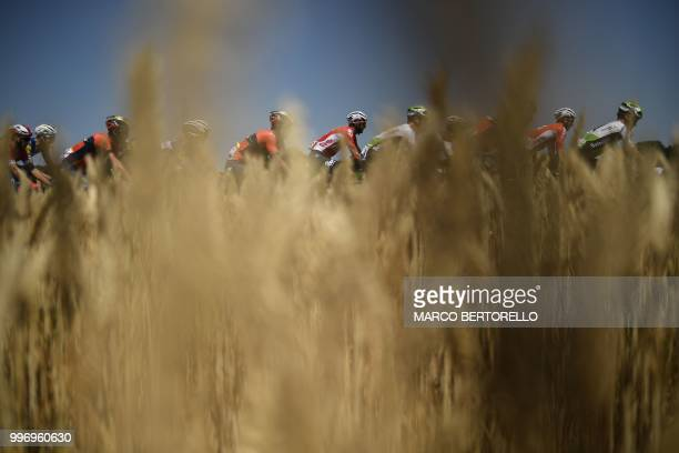 The pack rides past wheat fields during the sixth stage of the 105th edition of the Tour de France cycling race between Brest and MurdeBretagne...