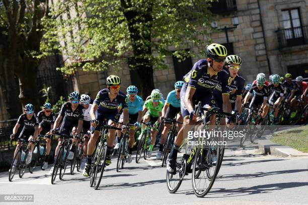 TOPSHOT The pack rides through Elorrio on April 7 2017 during the fifth stage of the 2017 Tour of the Basque country a 1398km route between Bilbao...