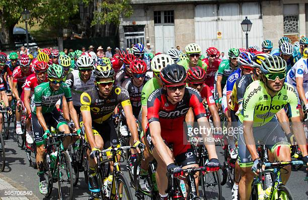 The pack takes the start of the 7th stage of the 71st edition of La Vuelta Tour of Spain a 1585 km route between Maceda to Puebla de Sanabria on...