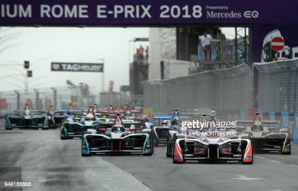 The pack takes the start of the Rome leg of the Formula E electric car championship in the EUR district of Rome on April 14 2018 Now in its fourth...