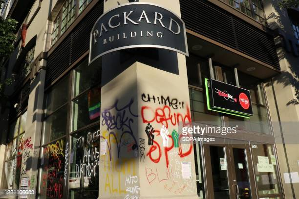 The Packard Building, an apartment building inside Seattle's so-called Capitol Hill Autonomous Zone, is seen being damaged and vandalized. Residents...