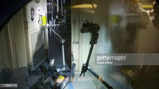 The Packbot robot is seen working inside the reactor building of Fukushima Daiichi Nuclear Power Station Unit 3 on April 17, 2011 in Fukushima,...