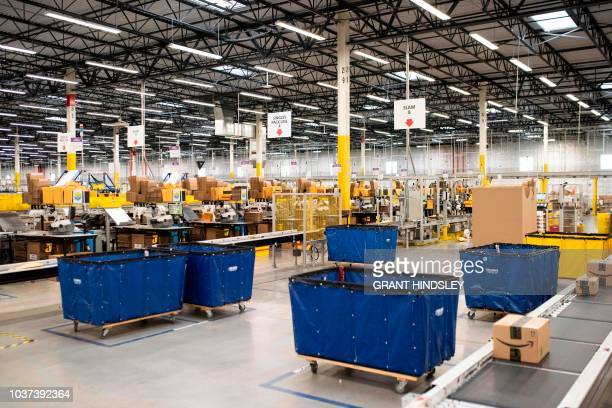 The packing floor is seen during a tour of Amazon's Fulfillment Center September 21 2018 in Kent Washington
