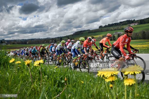 The packs rides during the 3rd stage, 160 km loop from Romont to Romont, during the Tour de Romandie UCI World Tour 2019 cycling race, on May 3 near...
