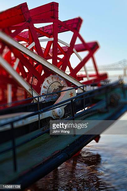 The paddle wheel of a steamboat on the Mississippi