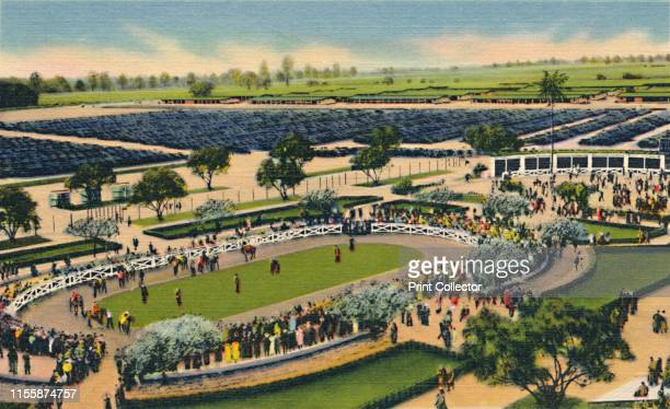"""The Paddock at """"Santa Anita"""", Los Angeles Turf Club, Arcadia, California', 1930s. The Los Angeles Turf Club, which opened on Christmas Day in 1934,..."""