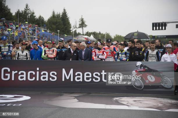 The paddock family remeber on the grid Angel Nieto of Spain before the races during the MotoGp of Czech Republic Race at Brno Circuit on August 6...