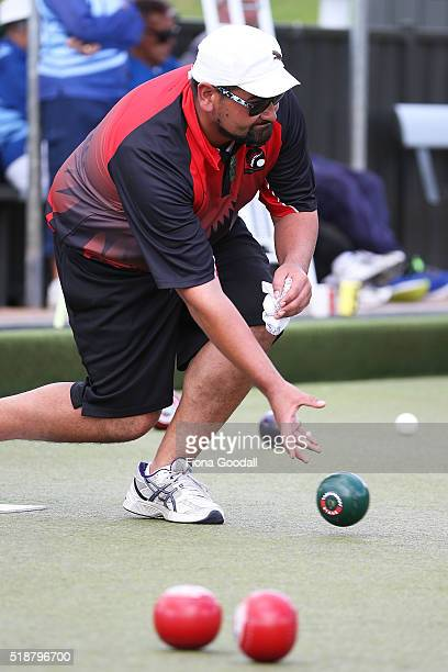 The Paddy Stewart of Canterbury bowls in the fours final against Auckland during the Bowls New Zealand Intercentre at Howick Bowling Club on April 3...
