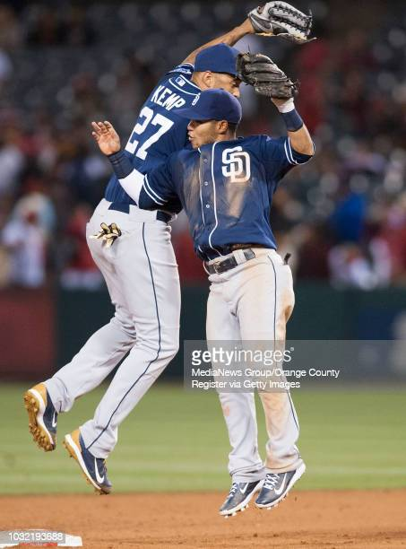 The Padres' Matt Kemp and Alexi Amarista celebrate after San Diego's 54 victory over the Angels Wednesday night at Angel Stadium INFO angels0528kjs...